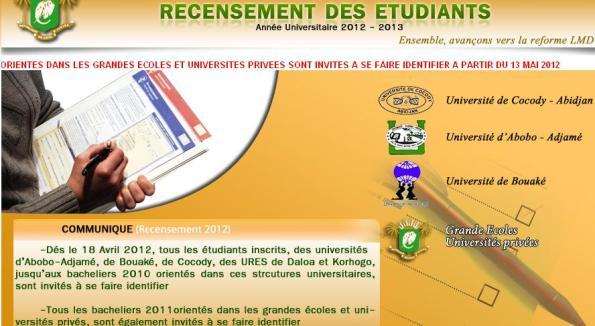 La page d'accueil du site web pour l'identification des Etudiants des Universités de CI