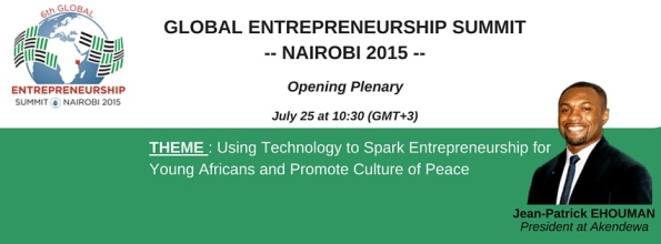 Jean Patrick Ehouman de retour au Global Entrepreneurship Summit  2015  à  Nairobi