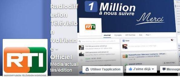 Média  La RTI dépasse le million de fans sur facebook